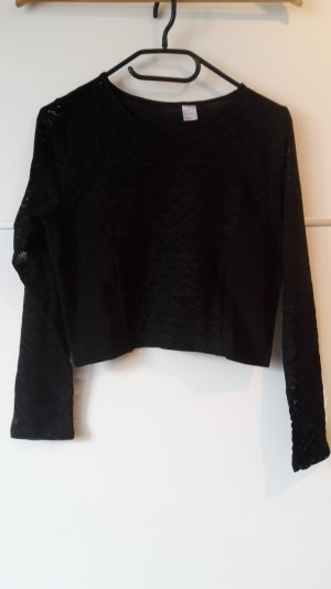 schwarzes Shirt Crop Top langärmelig Ethnomuster