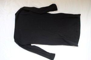 Schwarzes Shirt Kleid mit Taschen und U Boot Ausschnitt