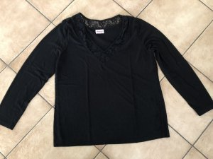 Schwarzes Shirt langarm / Langarmshirt von Sheego - Gr. 44/46