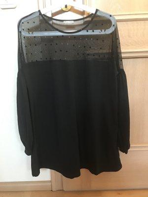 Schwarzes Shirt mit Ballonärmel oben Transparent mit Punkten Größe S