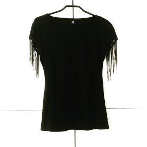 schwarzes shirt mit feinen ketten