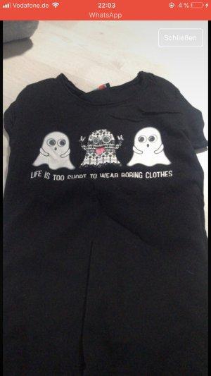 Schwarzes Shirt mit Gespenstern
