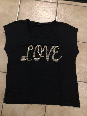 schwarzes Shirt mit goldenem Love Schriftzug von Bodyflirt - Gr. 44/46