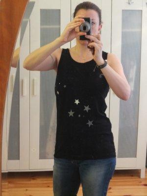 schwarzes Shirt mit grauen/weissen Sternen Gr.40