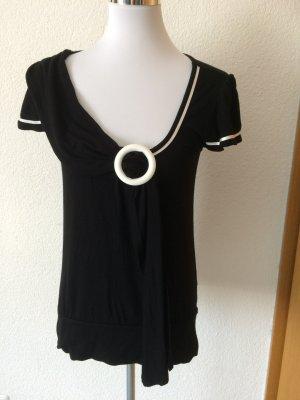 schwarzes Shirt mit großem Ring am Ausschnitt - zweimal getragen - von Vivance - Gr. 38