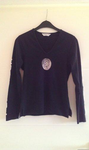 schwarzes Shirt mit langen Armen mit V-Ausschnitt von Huggy Fits