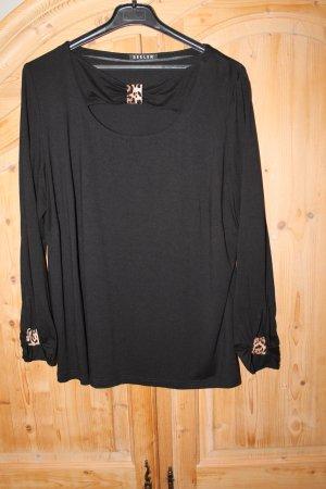 Schwarzes Shirt mit Leo-Applikationen, Größe 46 / 48, neuwertig!