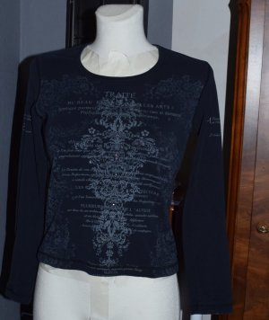 schwarzes Shirt mit Muster, Gr. 36/S, gothic
