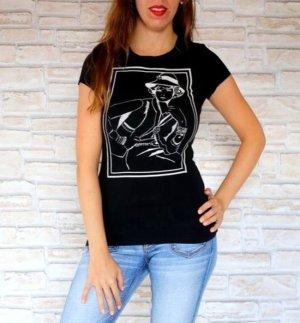 Schwarzes Shirt mit Negativ Print