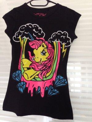 schwarzes Shirt mit neon Pony XS