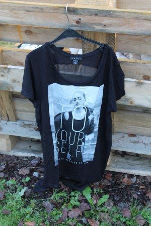 Schwarzes Shirt mit Netzoptik