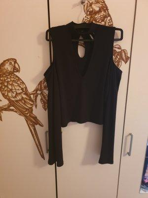 H&M Cropped shirt zwart Gemengd weefsel