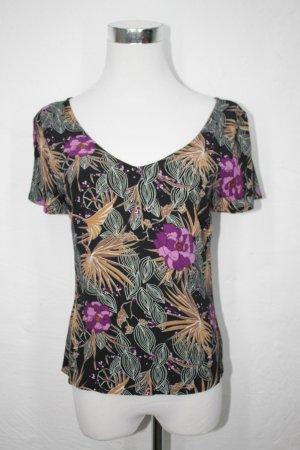 schwarzes Shirt mit Print(Blumen) von Hennes