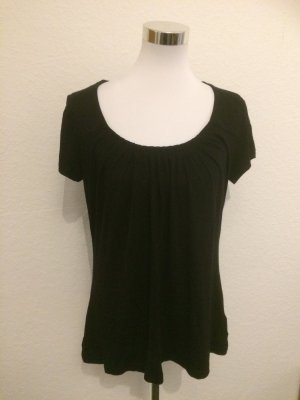 Schwarzes Shirt mit Raffung am Ausschnitt - Gr 42/44