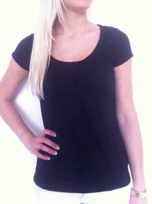 Schwarzes Shirt mit Raffungen