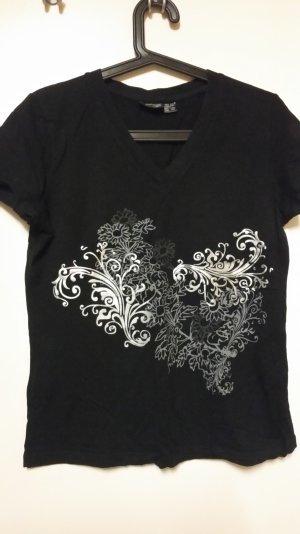 schwarzes Shirt mit silber/grauem Floral-Print Gr. 36/38 - kaum getragen