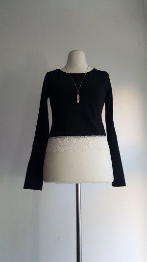 Camisa de ganchillo negro-blanco Poliéster