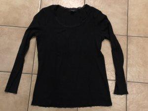 schwarzes Shirt mit Spitzenkragen von Woman by Tchibo - Gr. 44/46