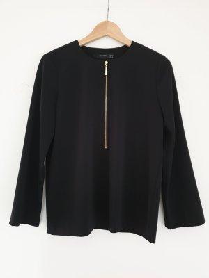 Schwarzes Shirt / Oberteil mit goldenem Reißverschluss von Hallhuber Gr. 36