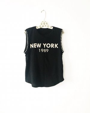 schwarzes shirt / top / new york / vintage / edgy / boho / hippie