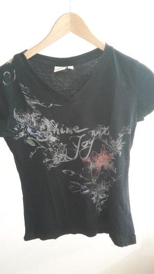 schwarzes Shirt von Esprit mit Blumenmuster und Metallsteinen