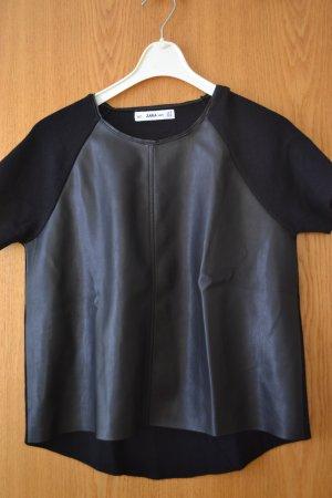 schwarzes Shirt von Zara mit Lederbesatz