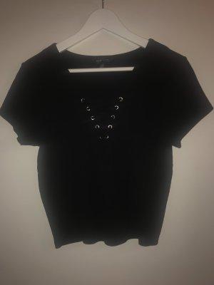 New Look Camisa acanalada negro-color plata