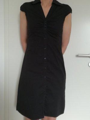 Schwarzes Sommerkleid - Hemdblusenkleid
