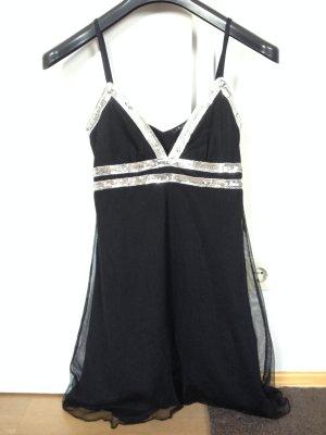 Schwarzes Sommerkleid mit silbernen Pailletten, Gr. 38