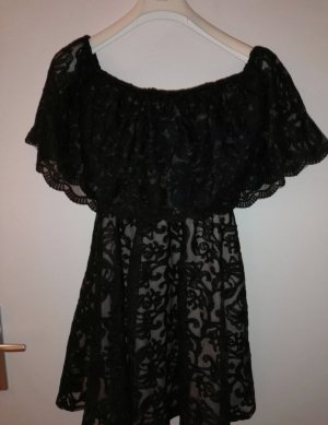 Schwarzes Spitzen Kleid innen Rosa gefüttert, Größe S/36
