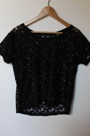 schwarzes Spitzen T-Shirt
