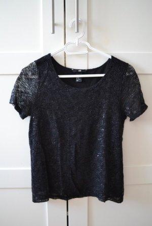 Schwarzes Spitzen T-Shirt von H&M in XS