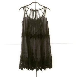 schwarzes spitzen/tüll minikleid