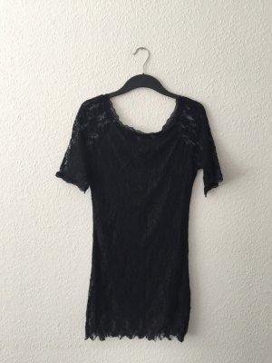 Schwarzes Spitzenkleid L Off-Shoulder