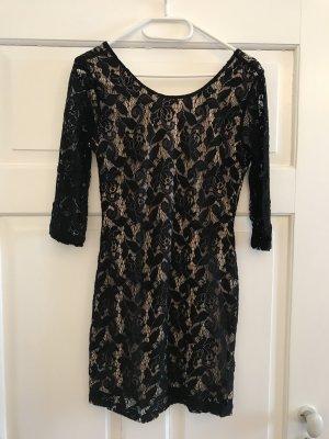 H&M Kanten jurk zwart-nude Polyamide