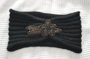 schwarzes Stirnband mit Perlen / Pailletten / Glitzer