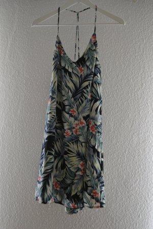 Schwarzes Strandkleid / Sommerkleid mit Palmen und Blumen