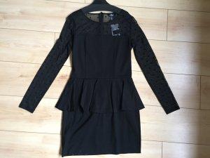 schwarzes Stretch Minikleid mit Schößchen Gr. M Neu mit Etikett