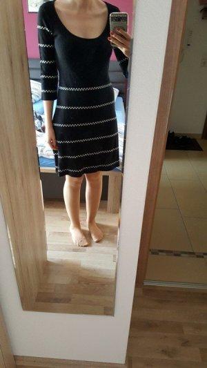 Bodyflirt Gebreide jurk wit-zwart