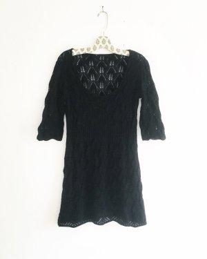 schwarzes strickkleid / vintage / boho / hippiestyle / knits