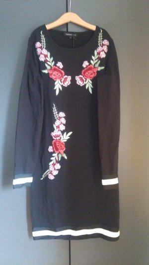 Schwarzes Sweatkleid mit Blumenstickerei Tramontana S