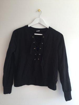 Schwarzes Sweatshirt mit gebundenem Ausschnitt