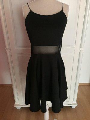 schwarzes Swing-Kleid transparent eng Träger