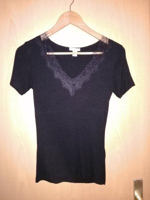 Amisu T-shirt col en V noir viscose