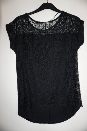 schwarzes T-Shirt (Häkeloptik vorne) in M