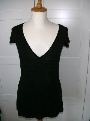 schwarzes T-Shirt, Longshirt, V-Ausschnitt, Melrose, Gr. 34