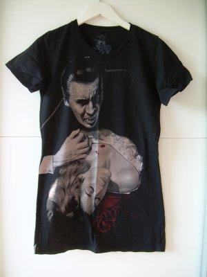schwarzes T-Shirt Longshirt von Iron Fist Gr. XL 42 mit Vampir-Motiv