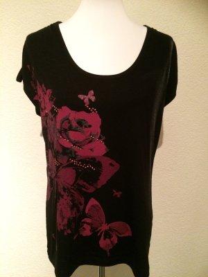 schwarzes T-Shirt mit Blumen und Schmetterlingen, Strass und Glitzer - Gr. 44,