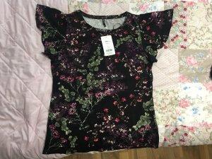 Schwarzes T-Shirt mit Blumenmuster - NEU