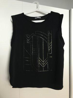 Schwarzes T-Shirt mit Glitzerdruck